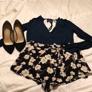Mini Floral Wrap Shorts